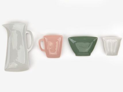DAILYLIKE pitcher Cup Bowl-shaped plates, set of 4