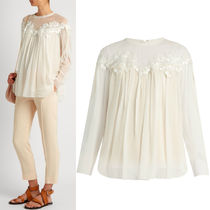 17SS C220 GUIPURE LACE EMBELLISHED SILK GEORGETTE BLOUSE