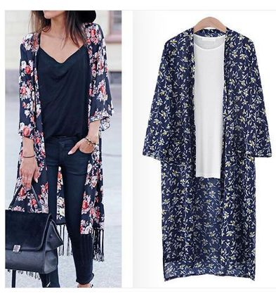 Sent with new summer flower prints slit long cardigan S ~ L