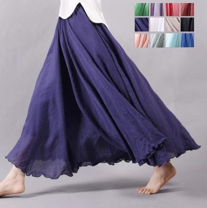 Cotton hemp material skirt length is that flare