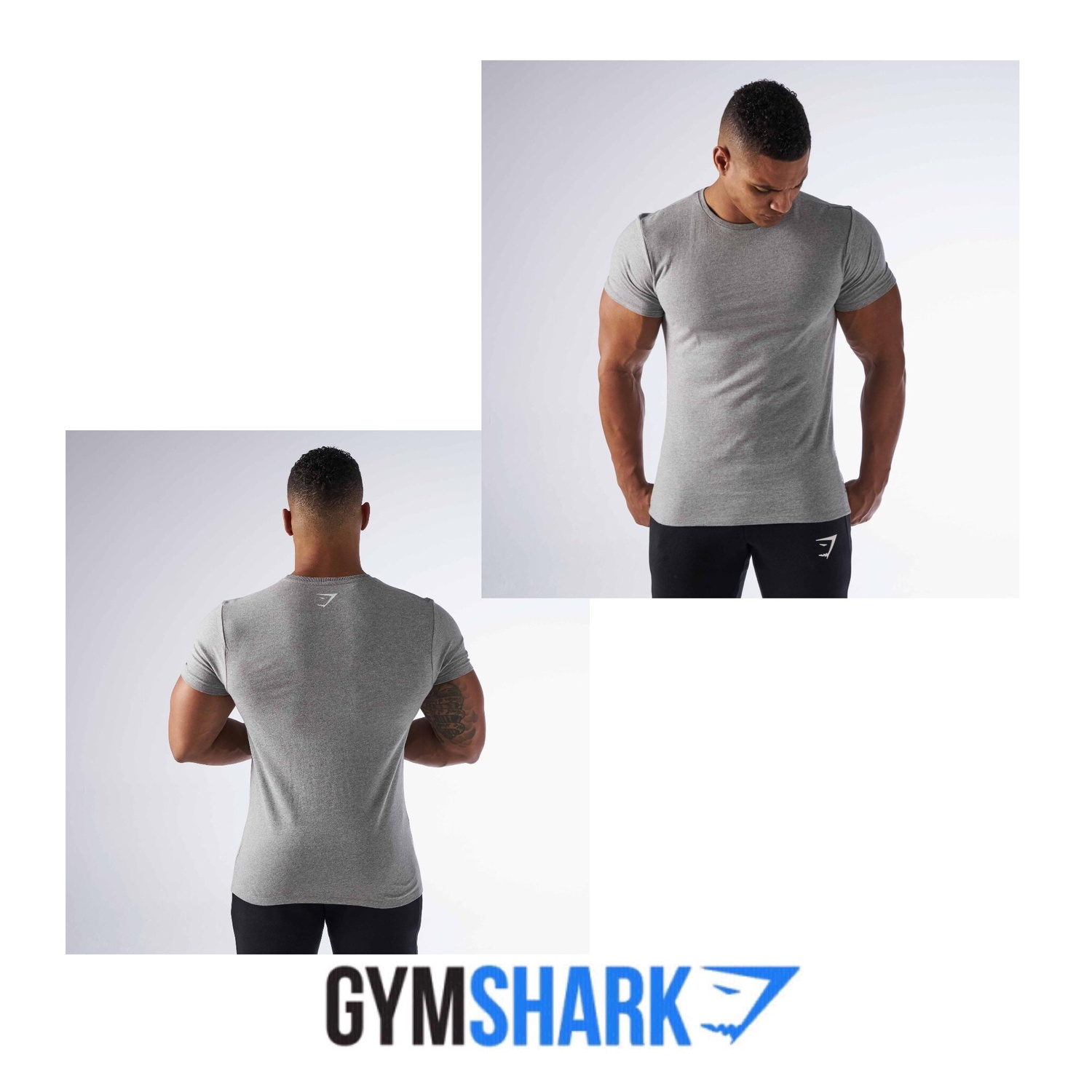GYMSHARK ☆BRUSHED COTTON TSHIRT-LIGHT GREY MARL