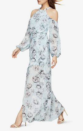 BCBG MAXAZRIA long chiffon floral dress--blue.