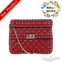 17SS★関税込【VALENTINO】Rockstud Spike M Quilted Bag/Red