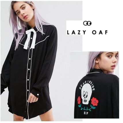 *UK発*Lazy Oaf*国内発送*送関込*黒シャツワンピ