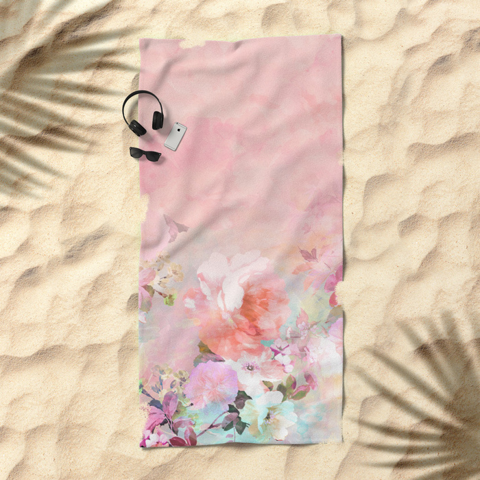 Society6♡ビーチタオル♡ombre floral