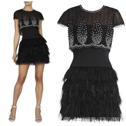 Party gorgeous BCBGMAXAZRIA jeweled feather dress