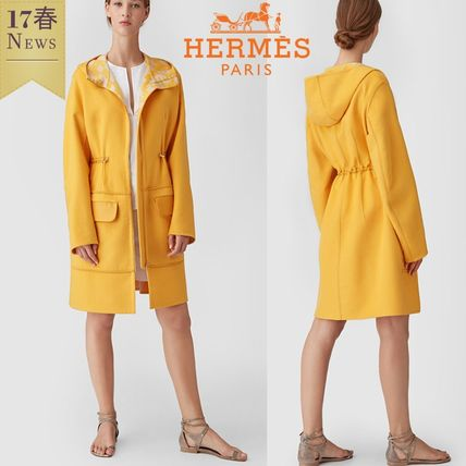 Hermes cashmere double face printed hood with coat