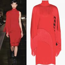 17SS G114 LOOK48 JERSEY FRINGED DRESS WITH STRIPES LINING