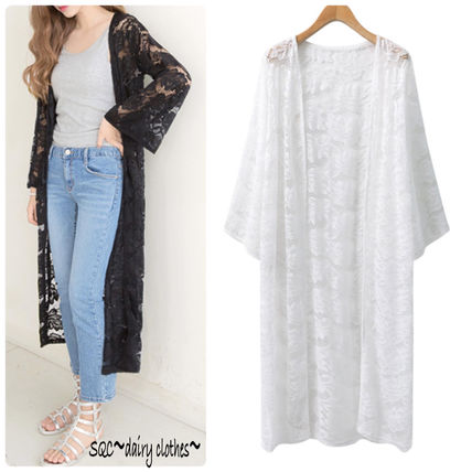 Korea fashion floral lace long-length gown cardigan