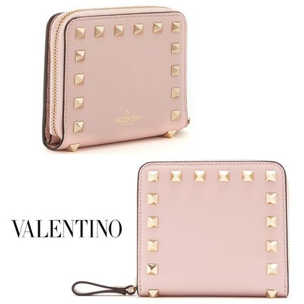 Valentino rock studded compact wallet