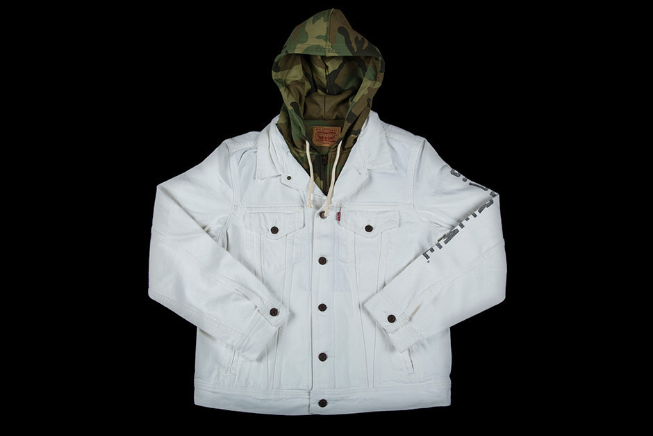 SS17 SUPREME LEVIS FLEECE HOOD TRUCKER JACKET WHITE ホワイト