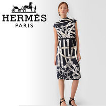 HERMES ◇ Cavalcadour シルク100% カラーワンピース