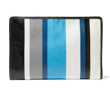 ★関税負担★BALENCIAGA★BAZAR STRIPED TEXTURED-LEATHER POUCH