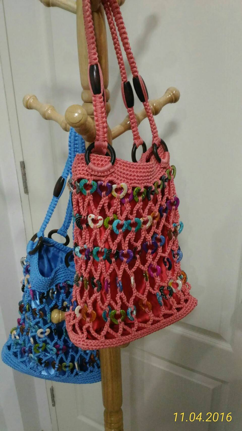Knitted Tote Bag (Pink / New)1個のみ!