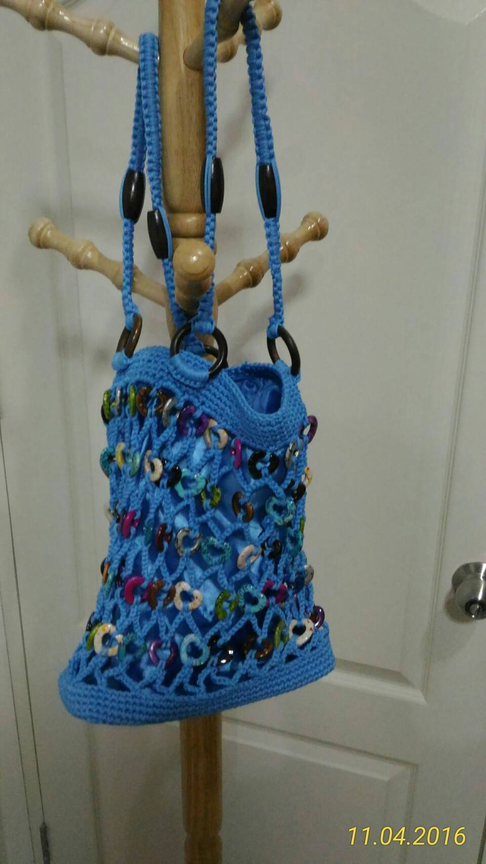 Knitted Tote Bag (Blue / New)1個のみ!