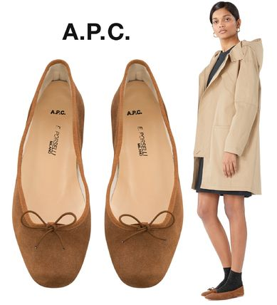 France issued A. P. C. Porselli ballet shoes suede chestnut
