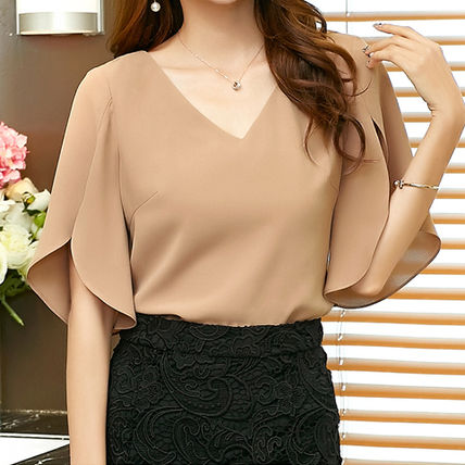 "All EMS / slit entered ""flare sleeve"" V neck blouse"