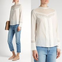∞∞rebecca taylor∞∞ Lace-trimmed stretch-silk blouse