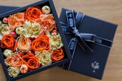 Flower box my father's day gift black box Orange / lemon