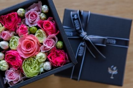 Flower box father's day gift black box lime / pink