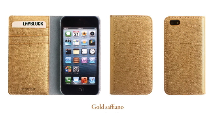 GAZE★Flip Saffiano Real Goldダイアリーレザーケース-iphone 6