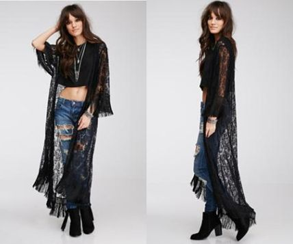 Adult cute trend chic lace long cardigan