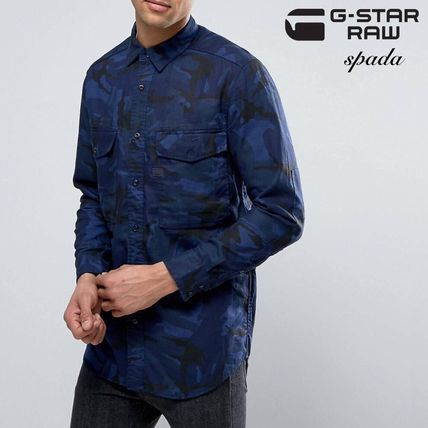 SALE g-star logo long sleeve t-shirt Camo blue /