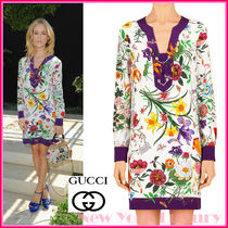 GUCCI★グッチ★素敵!FLORA PRINT SILK LONG SLEEVE DRESS