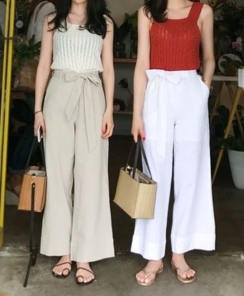 Waist Ribbon belted linen wide pants all