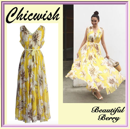 Chick wish yellow floral chiffon Maxi dress