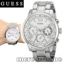 SALE GUESS Womens Sporty Silver Tone Stainless Watch U0330L3
