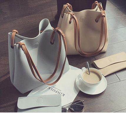 Adult cute trend leather bucket tote bag