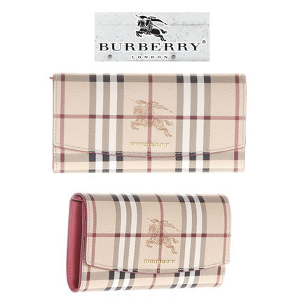 Burberry continental flap long wallet checks