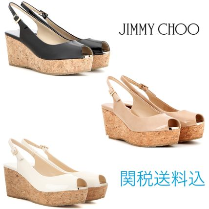 JIMMY CHOO Praise patent leather wedge sandals