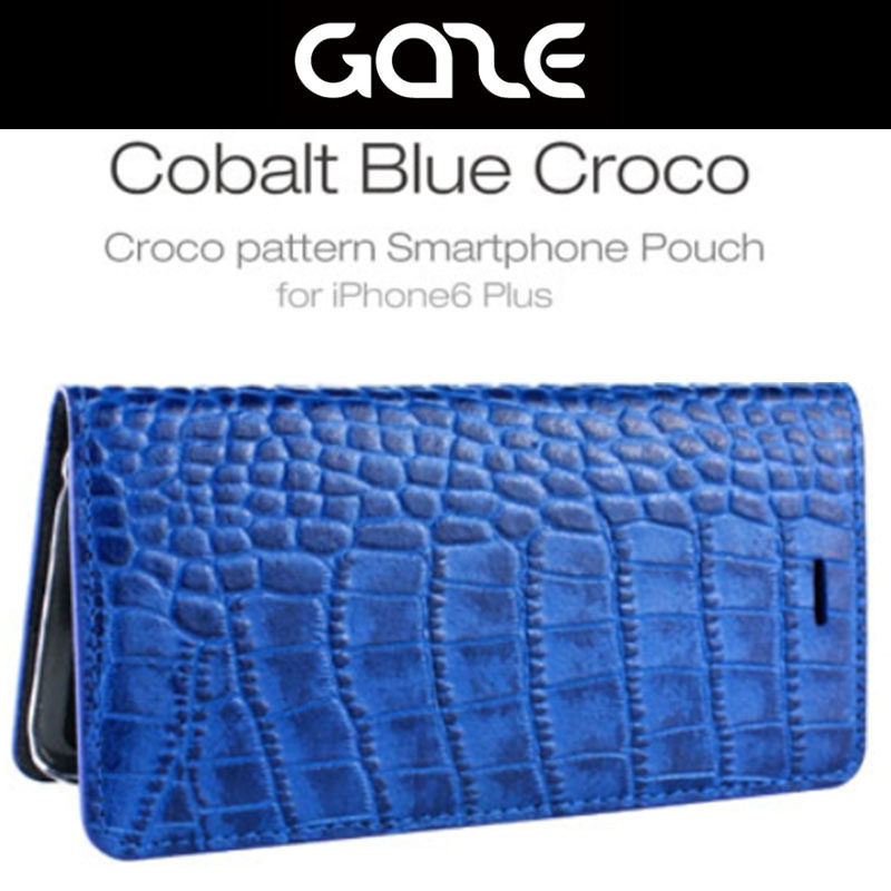 GAZE★Cobalt Blue  Crocoダイアリーレザーケース-iphone 6 plus