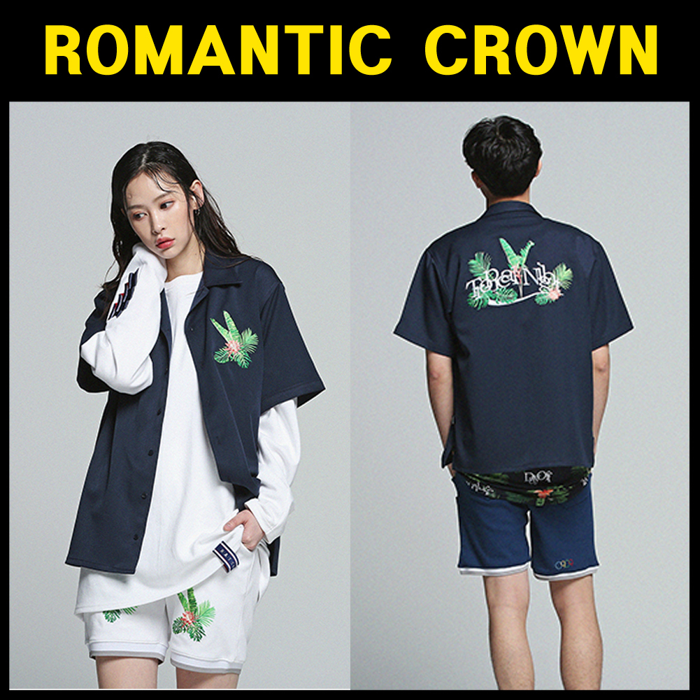 ROMANTIC CROWN★Tropical Night Shirt_Navy