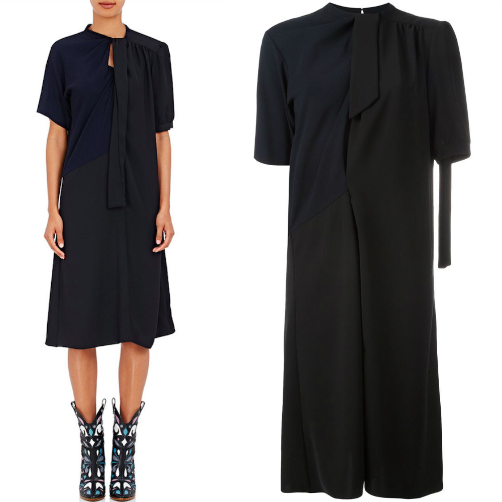17SS MMF073 RECONSTRUCTED MIDI DRESS WITH RIBBON TIE