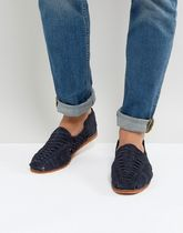 足元大事! 気持ちよく ASOS Woven Sandals In Navy Suede