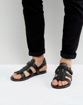 足元大事! 気持ちよく ASOS Sandals In Black Leather With