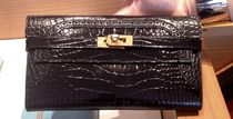 限定品◆◇HERMES Kelly Ghillies Black Alligator長財布◆◇