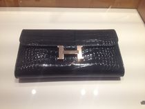 ◆◇HERMES Constance Black/Silver Alligator長財布◆◇