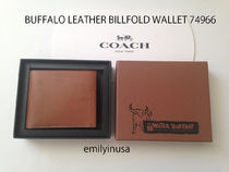激安 COACH★BUFFALO LEATHER BILLFOLD WALLET 74966*箱付き