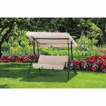 Clio Beige Polyester/Steel Porch Swing