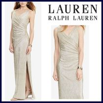 新作【Ralph Lauren】Metallic Ruched Gown★パーティードレス