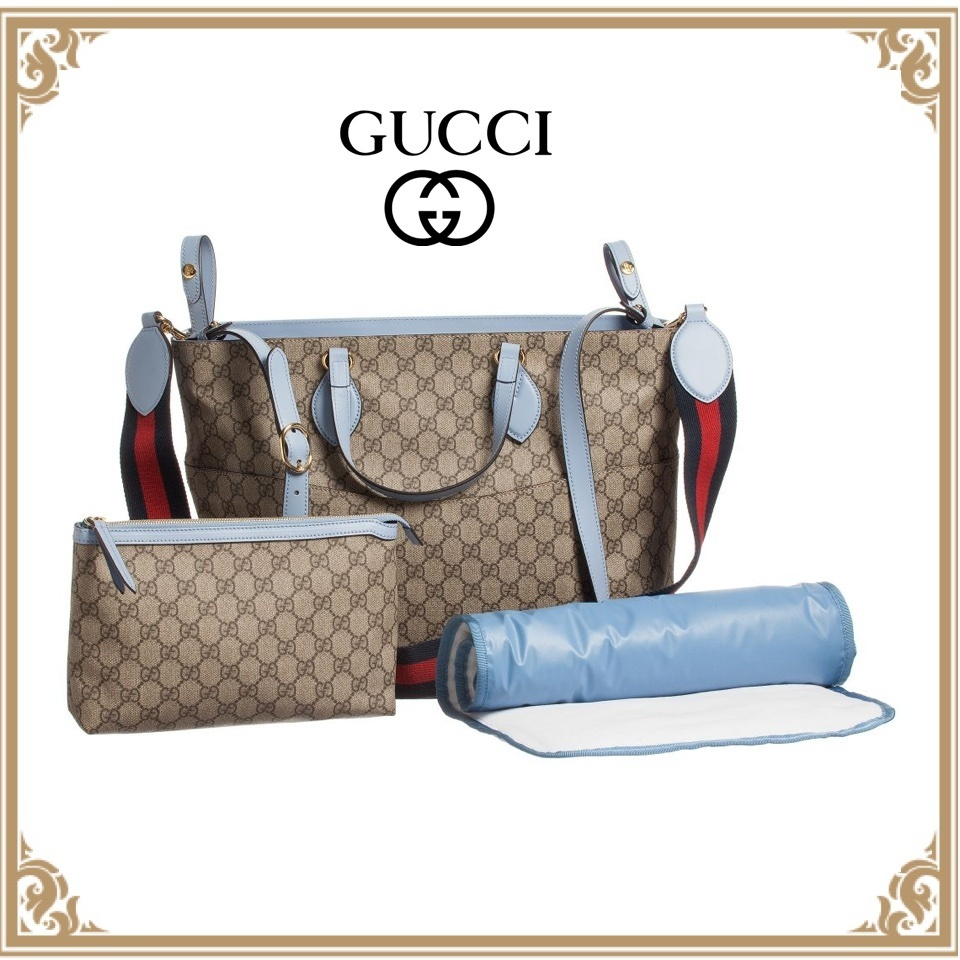 17SS【GUCCI】GGロゴ キャンバスバッグ&マザーズセット