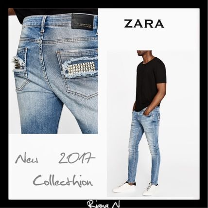 "NEW * studded with ""ZARA Men's"" popular design * denim"