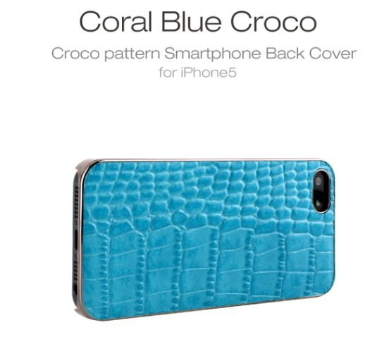 GAZE★Coral Blue Croco Back Cover ケース -iphone 5/se