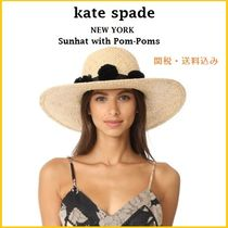 Kate Spade New York 麦わら帽子 Sunhat with Pom-Poms