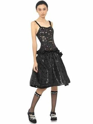 WET EFFECT LACE FRILLED DRESS