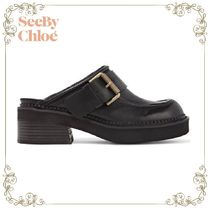 【17AW】大人気★SEE BY CHLOE★Buckled leather slippers